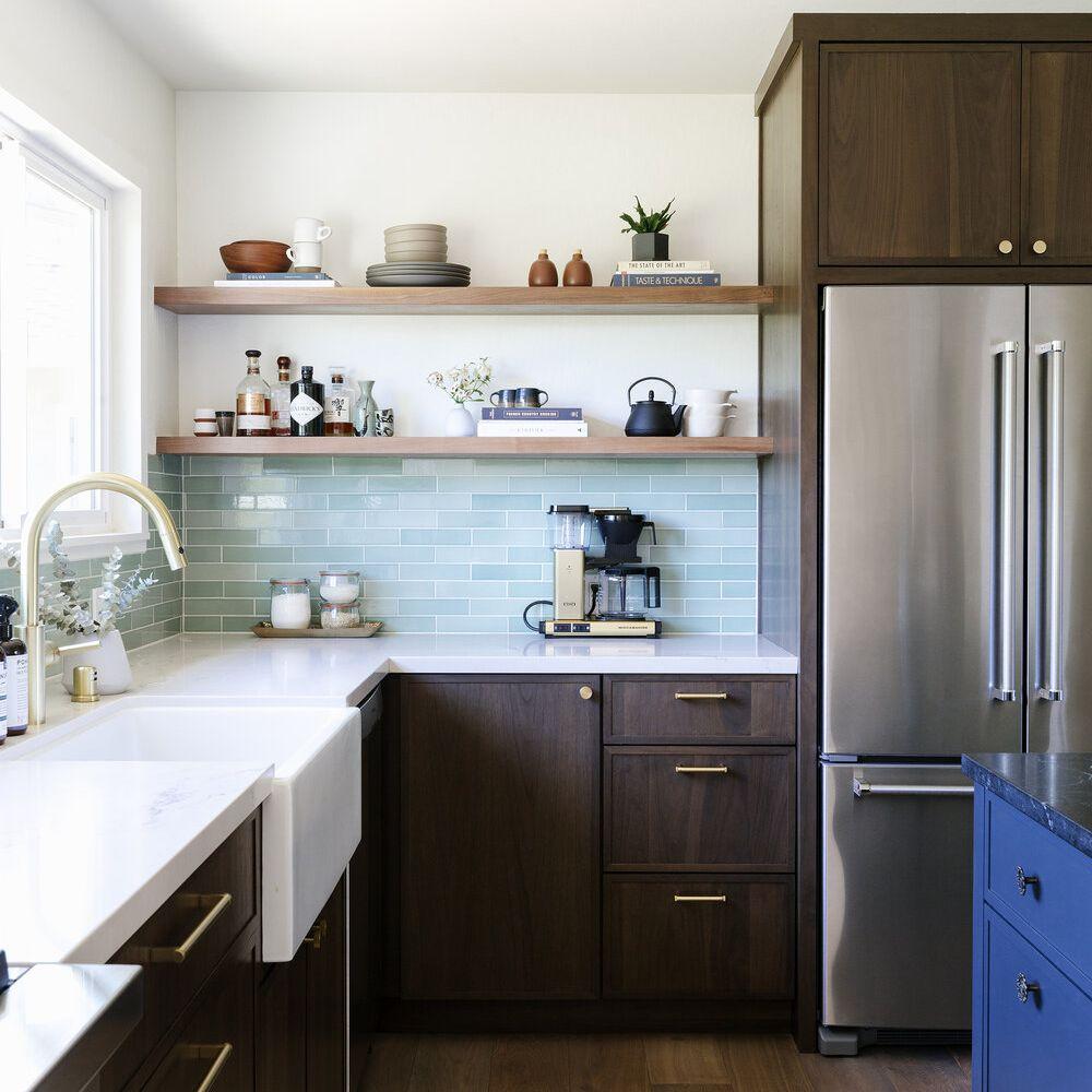 beige and cream kitchen rug in dark wood kitchen