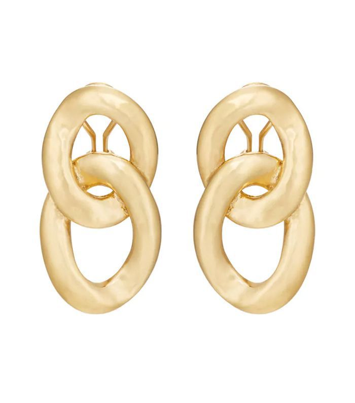 Women's Fixed-Oval-Link Clip-On Earrings