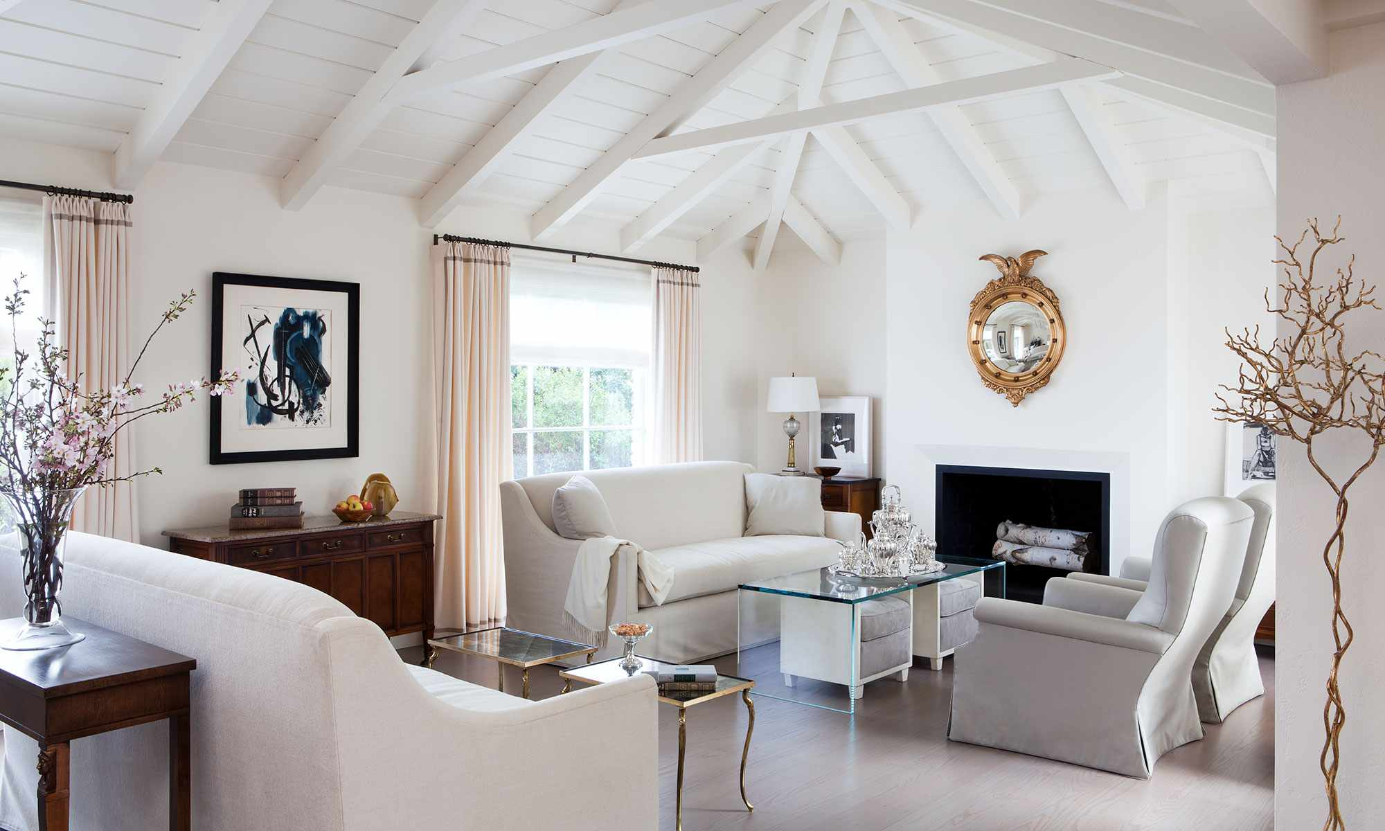 monochromatic white couch living room