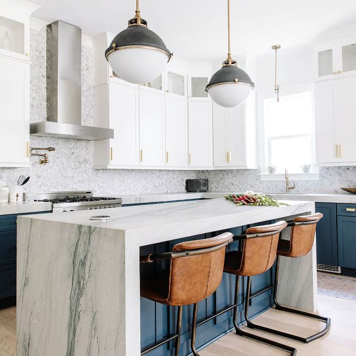 Marble and blue kitchen