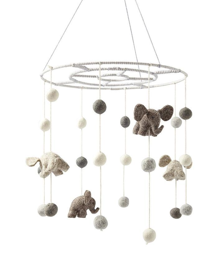 Felted Wool Animal Mobile – Elephants