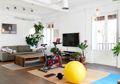 Light and bright at-home gym.