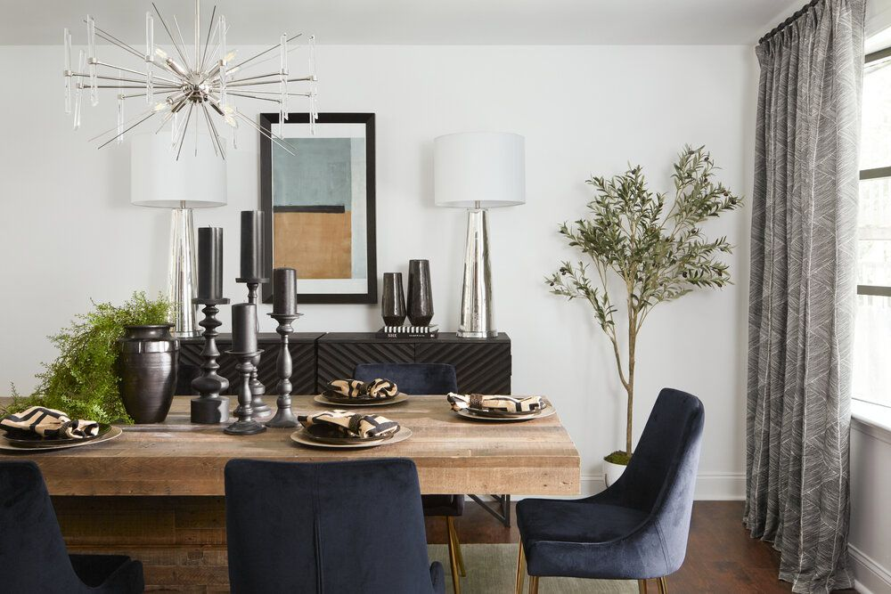 Black and navy accents in dining room