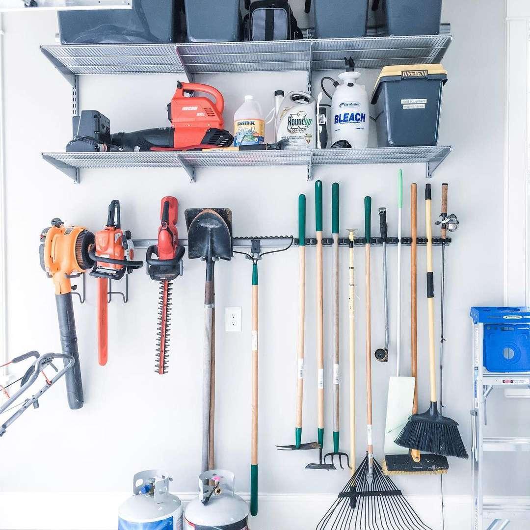 Garage with storage and organization.