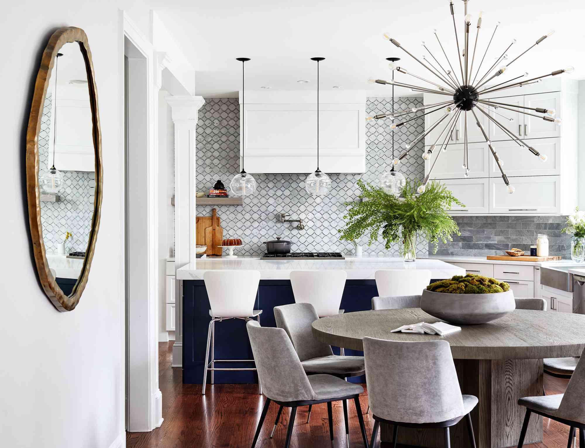 White, gray, and blue kitchen