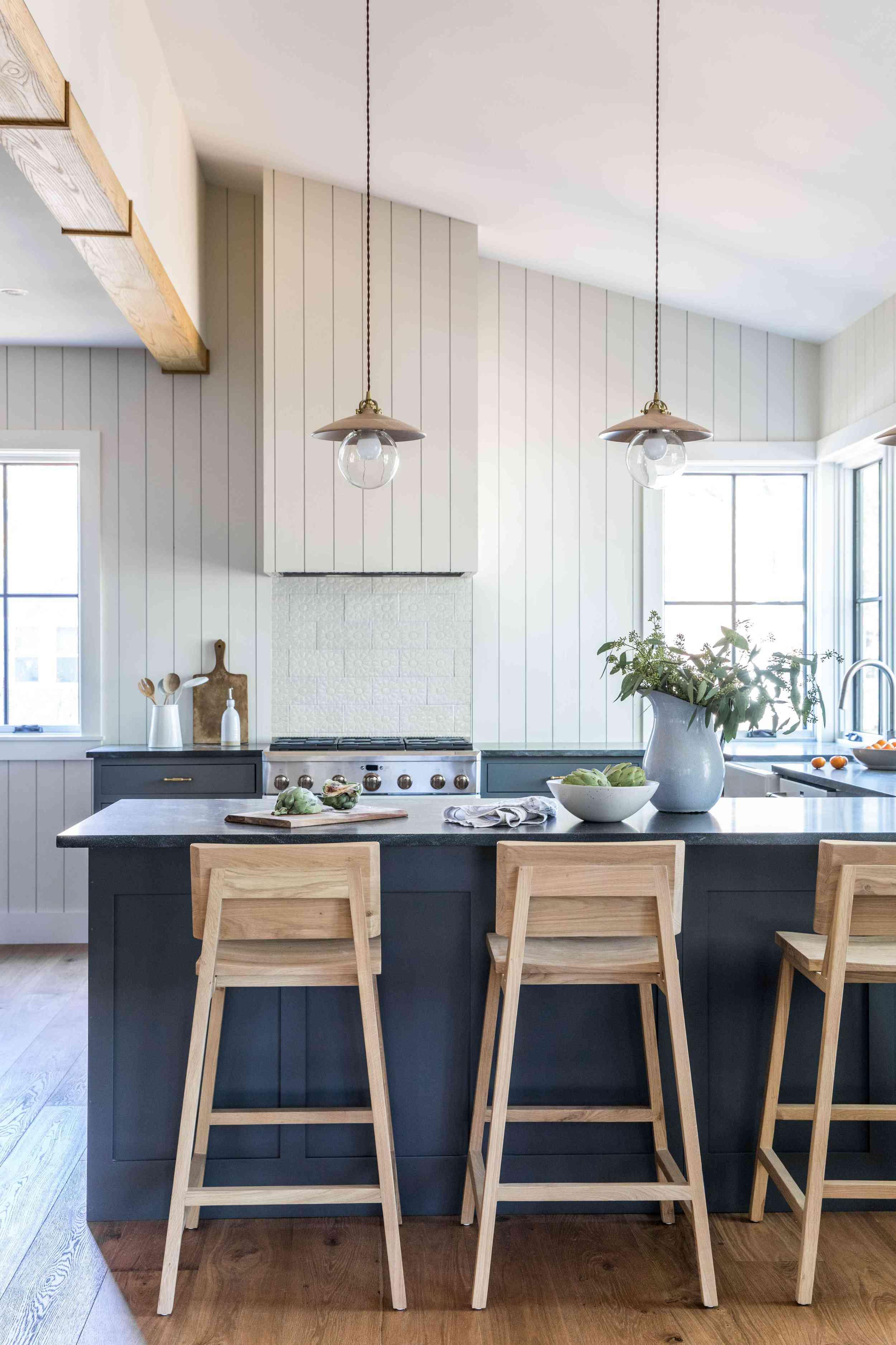 best kitchen ideas - blue and white rustic kitchen in maine