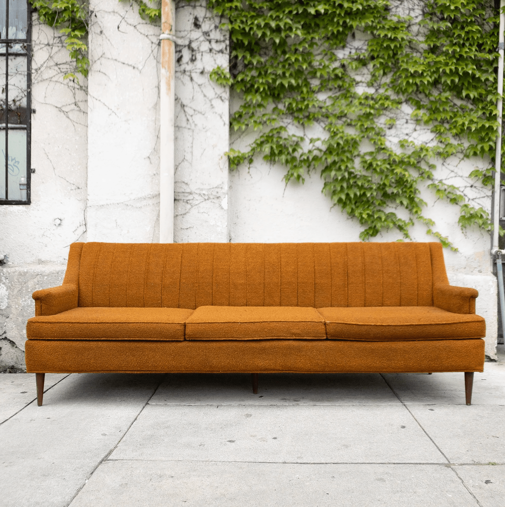 Sunbeam Vintage Original 1960s Vintage Burnt Orange Sofa