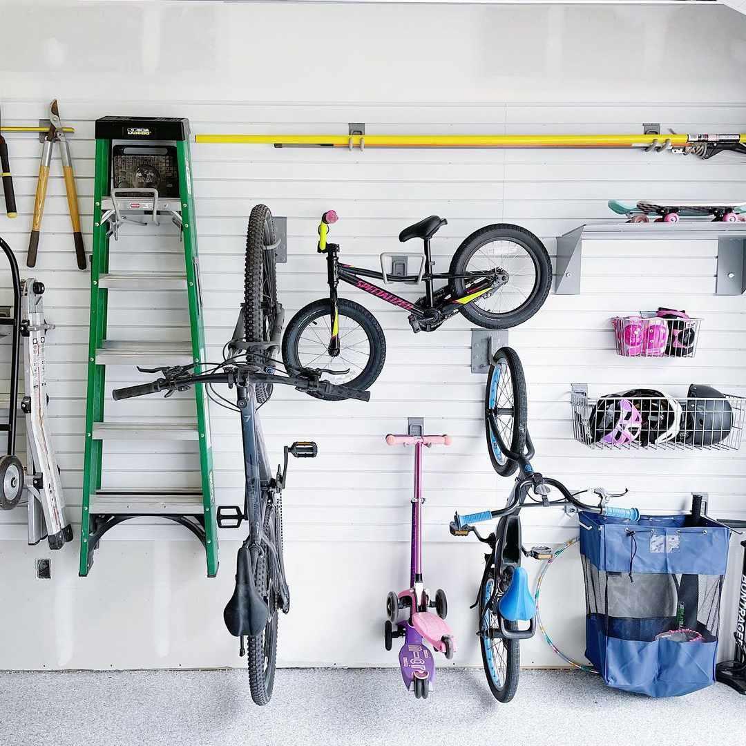 Bike storage on the wall in garage