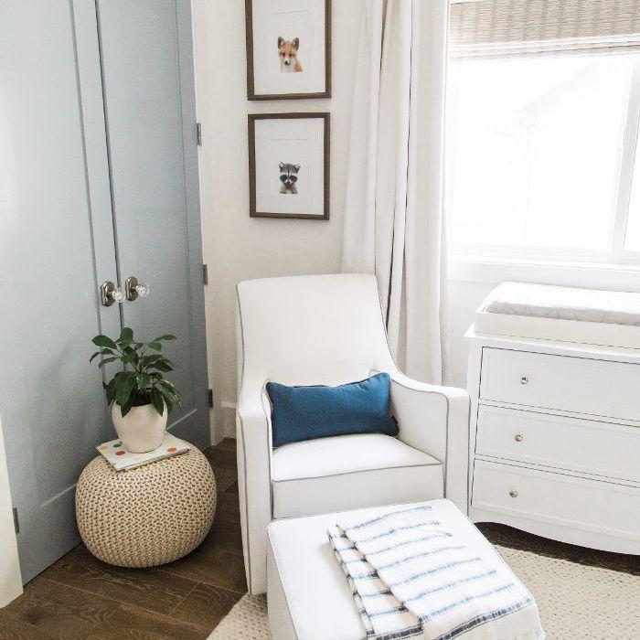Bachelorette Ali Fedotowsky white armchair in corner of home