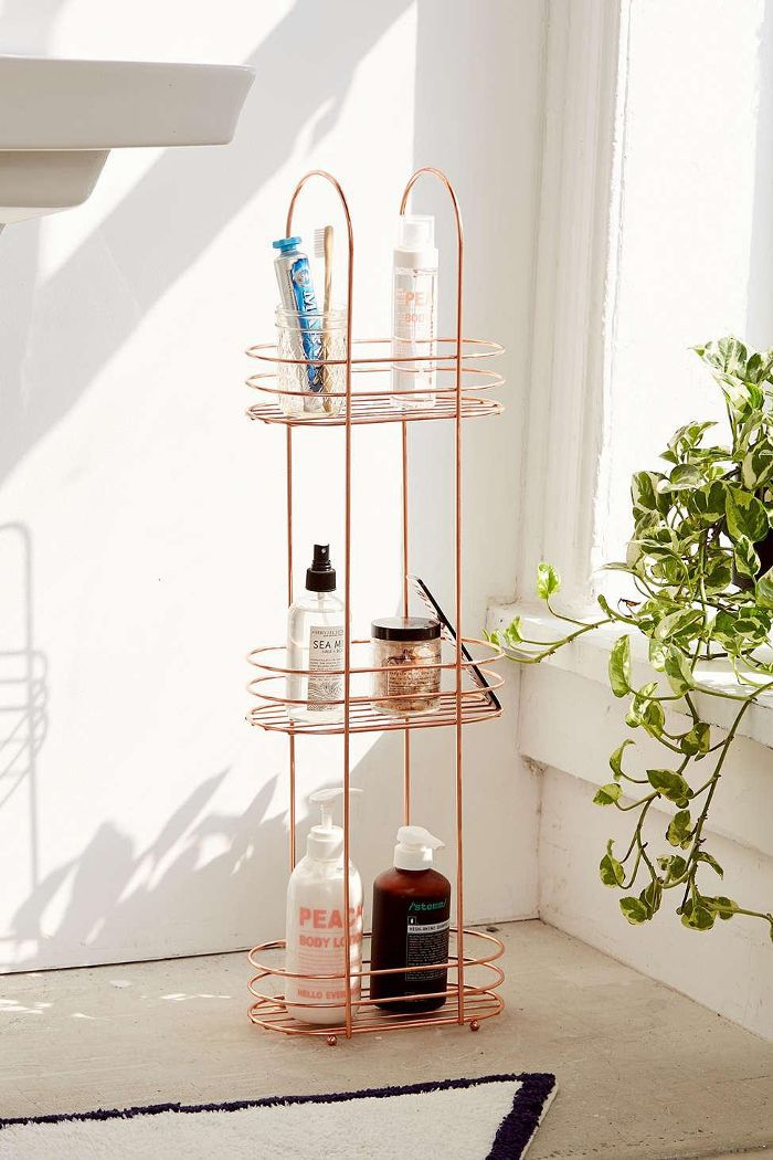 Urban Outfitters Minimal Rose Gold Standing Bathroom Storage