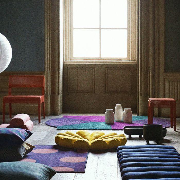 SJÄLVSTÄNDIG lampshades, cone cushions, floor cushions, and modular carpets
