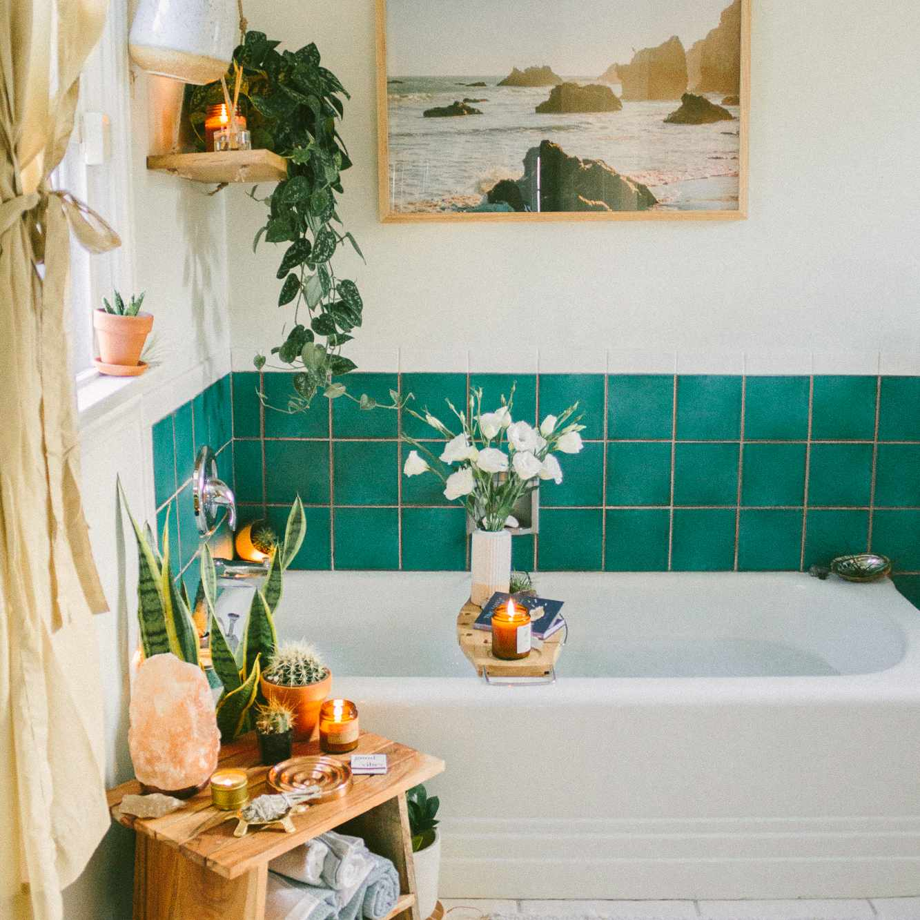 Turquoise-tiled bathroom