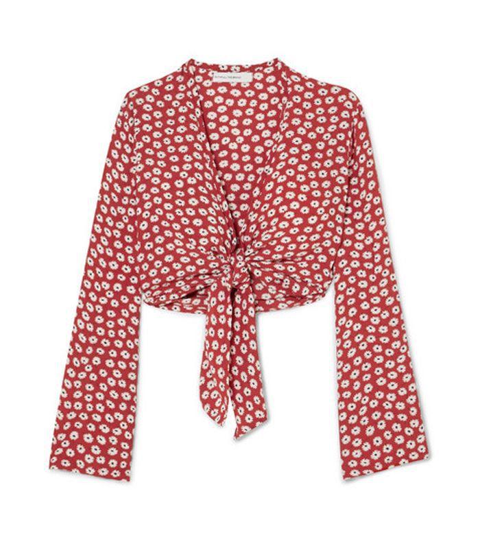 Teguise Tie-front Floral-print Crepe Top