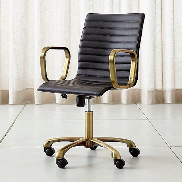 Crate & Barrel Ripple Black Leather Office Chair with Brass Frame