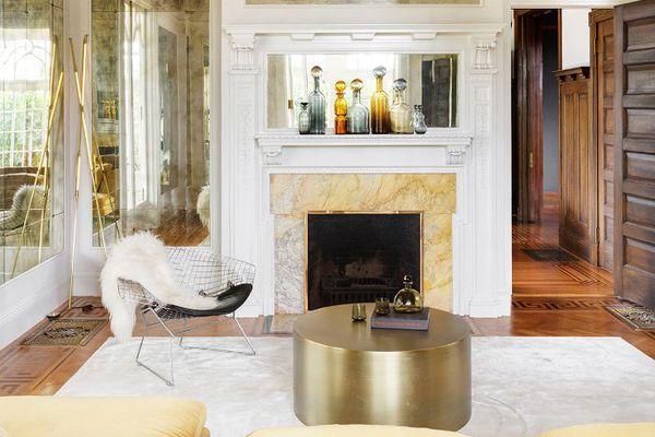 living room with circular coffee table