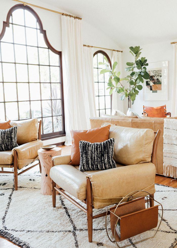 twin tan leather chairs