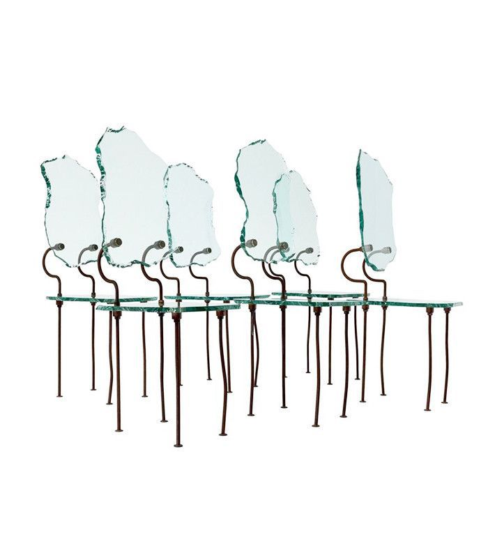 Glass and metal dining chairs