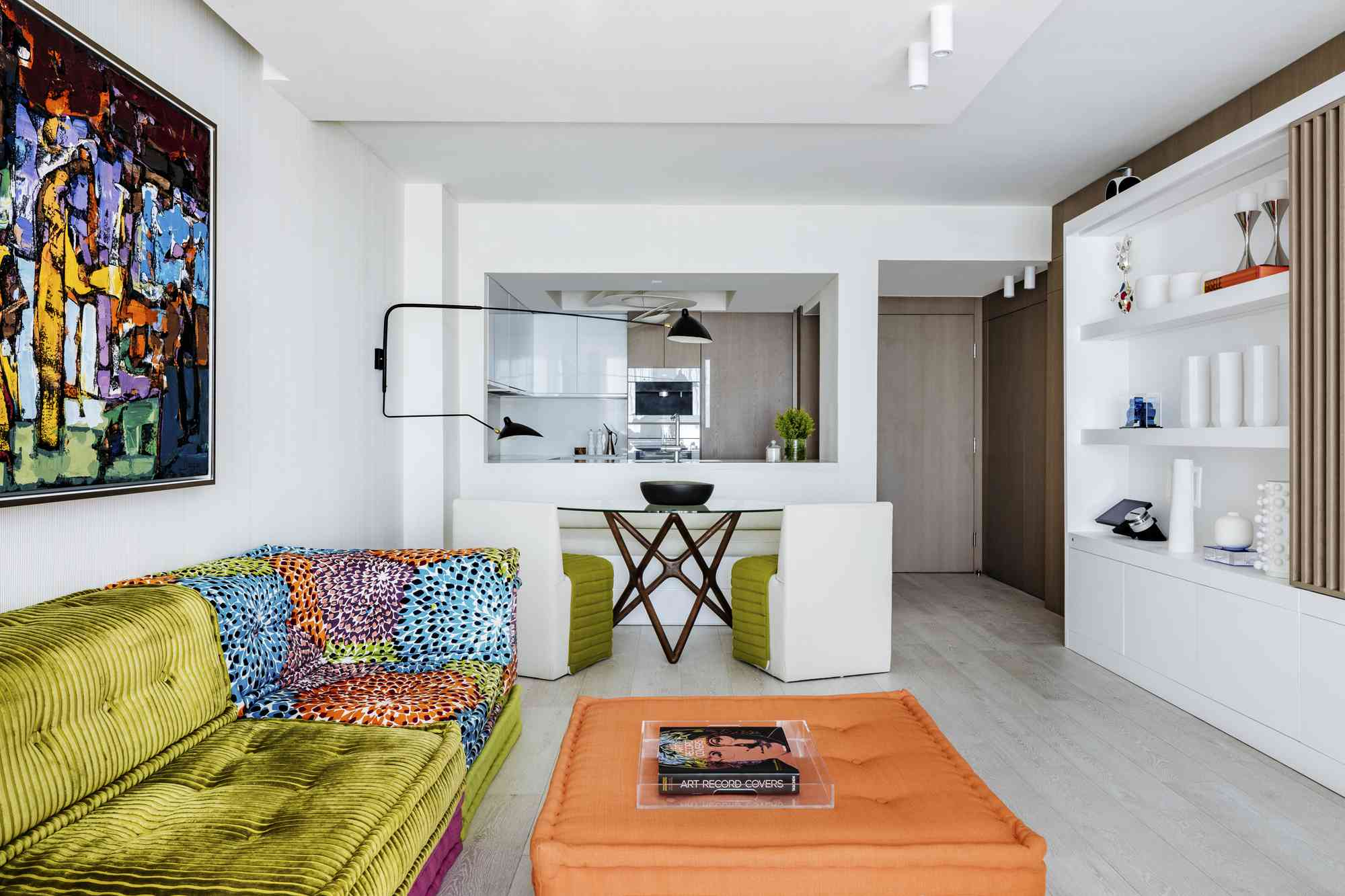 Living room with bright ottoman