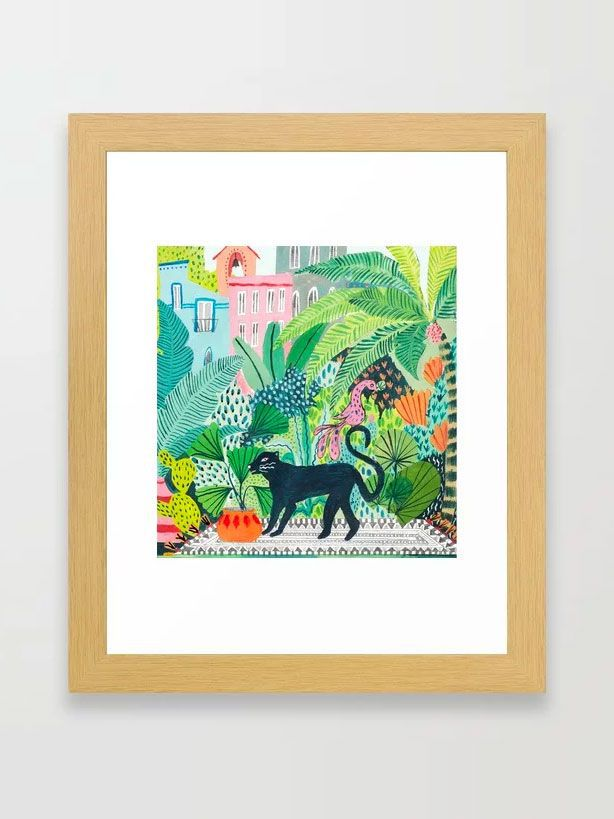 Ambers Textiles Jungle Panther Framed Art Print