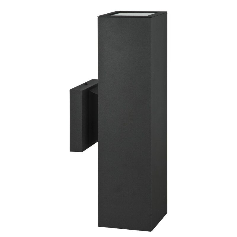2-bulb matte black minimal outdoor sconce