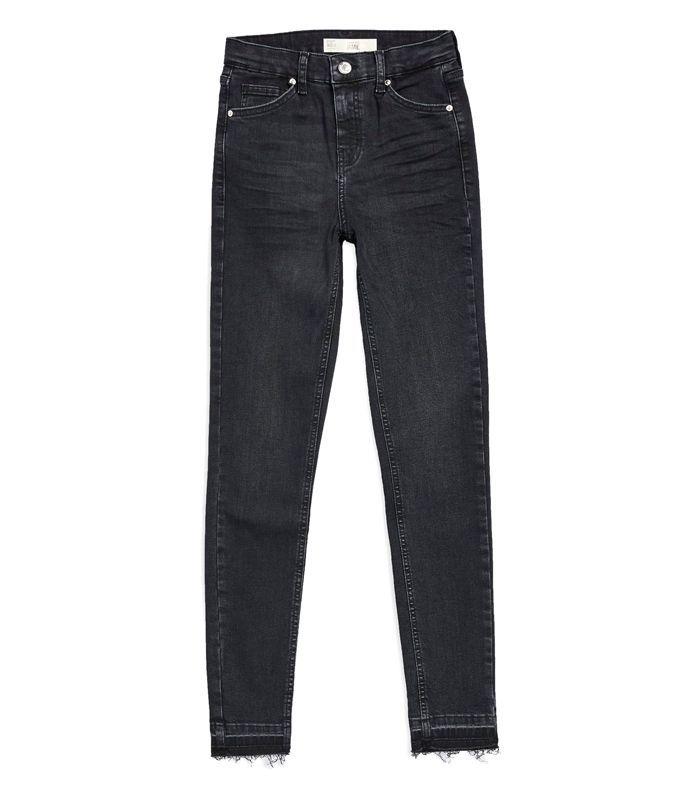 Moto Washed Black Let Hem Jamie Jeans