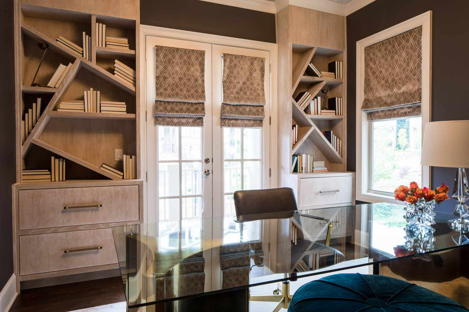 Office with abstract bookshelves
