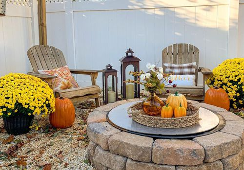 Fire pit decked out for fall