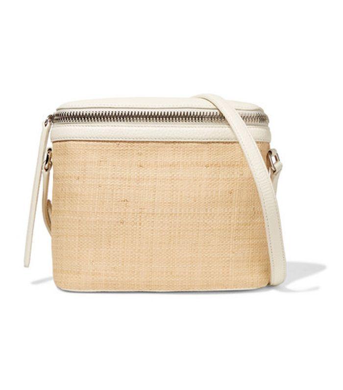 Large Textured Leather-trimmed Straw Shoulder Bag