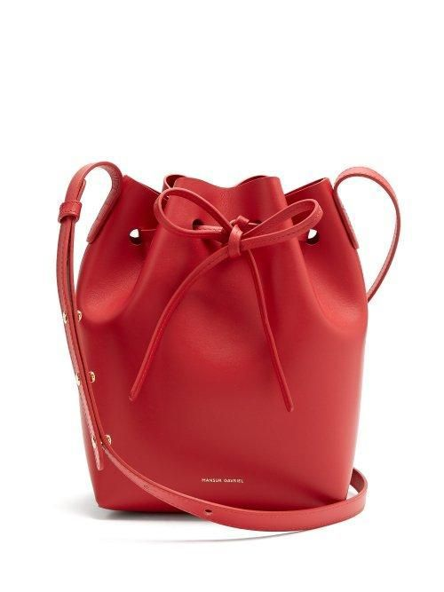 Mansur Gavriel Red Lined Mini Leather Bucket Bag