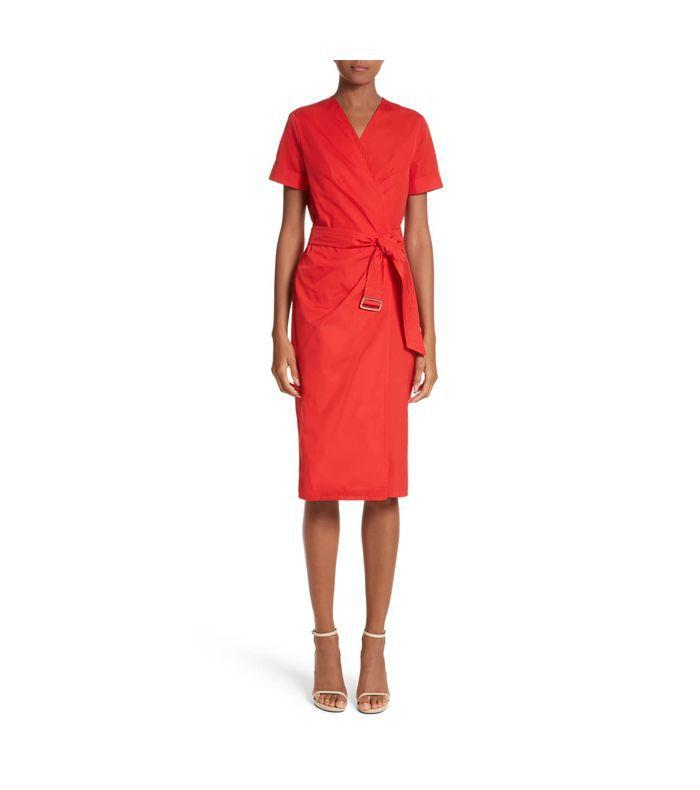 Poplin Displaced Wrap Dress