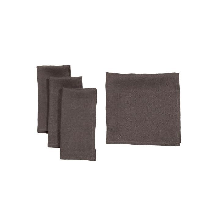 Manor Luxe Classic Linen Napkins Dark Gray, Set of 4