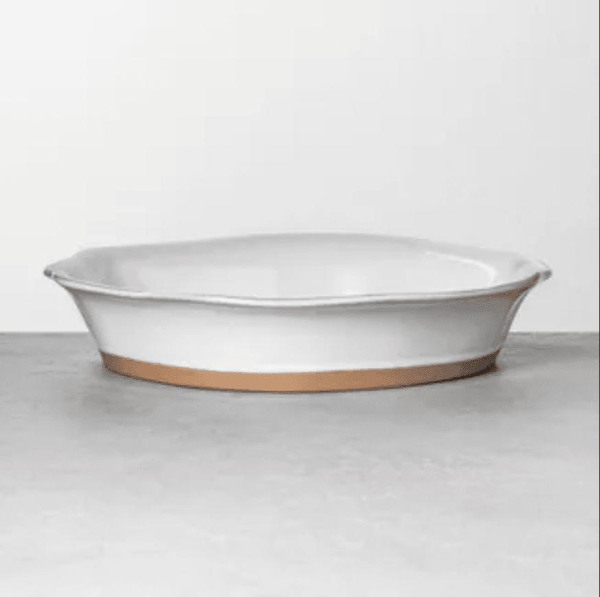 Large glazed pie dish tray