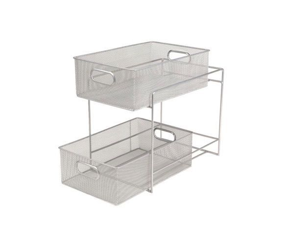 Mind Reader 2-Tier Mesh Storage Basket in Silver