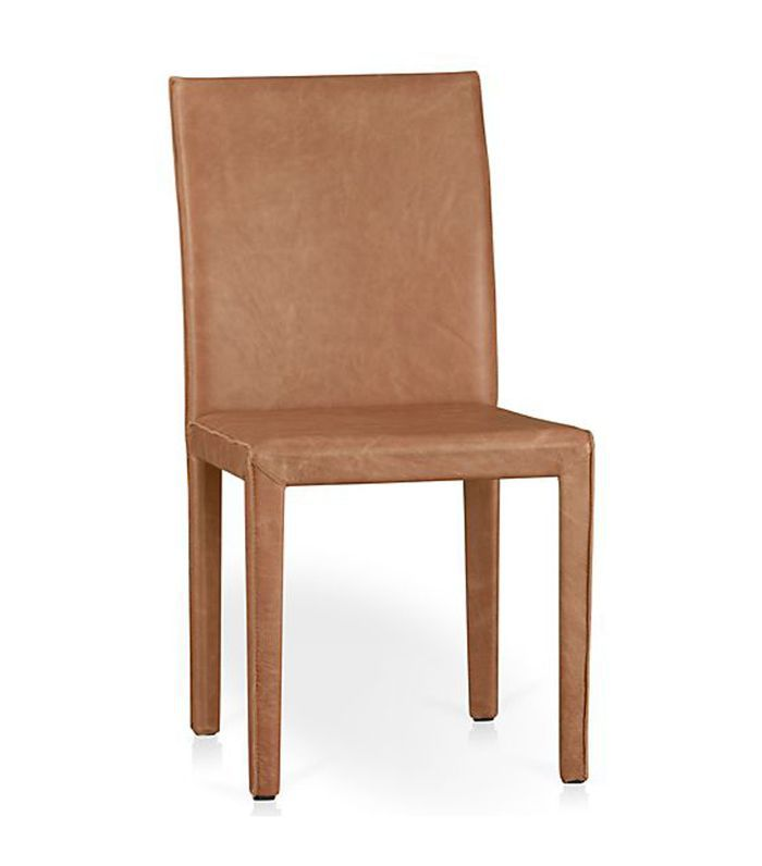 Crate and Barrel Folio Whiskey Brown Top-Grain Leather Dining Chair