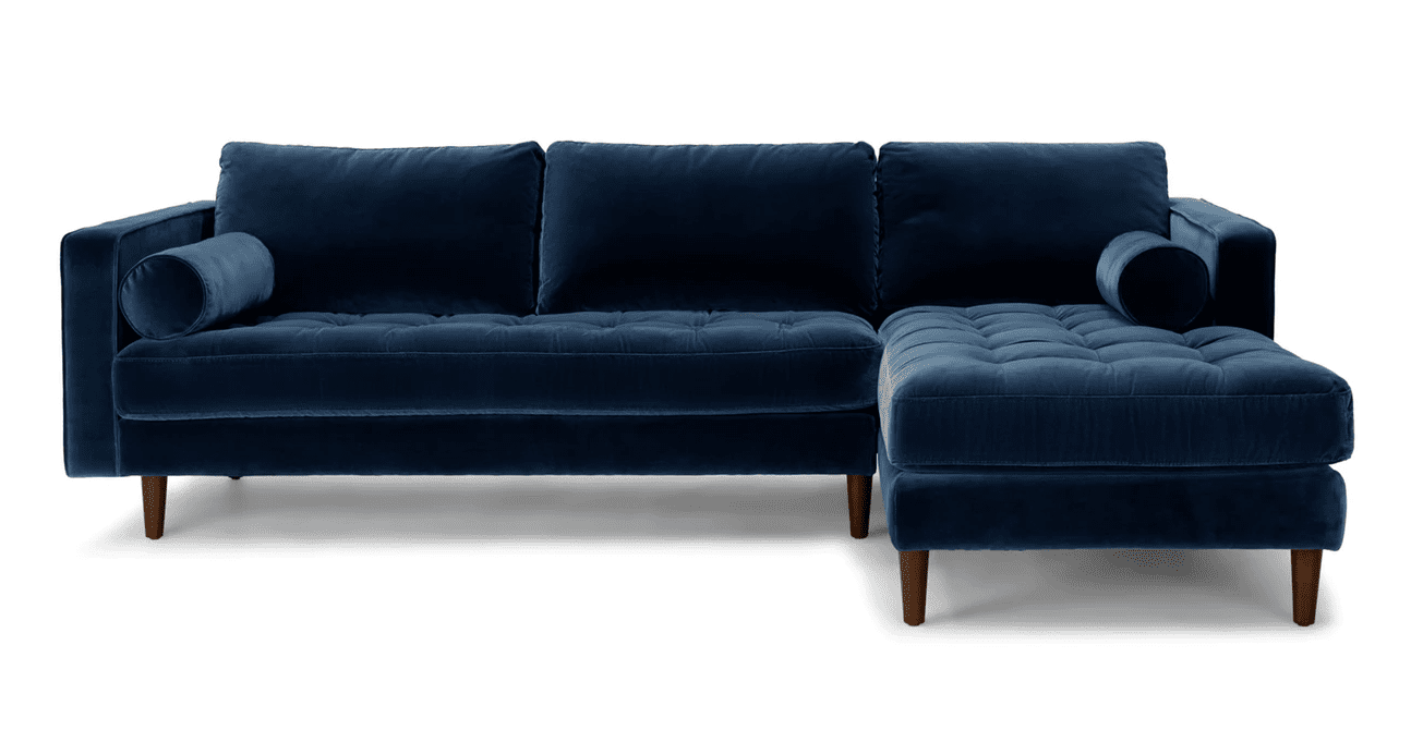 Sven Right Sectional Sofa in Cascadia Blue