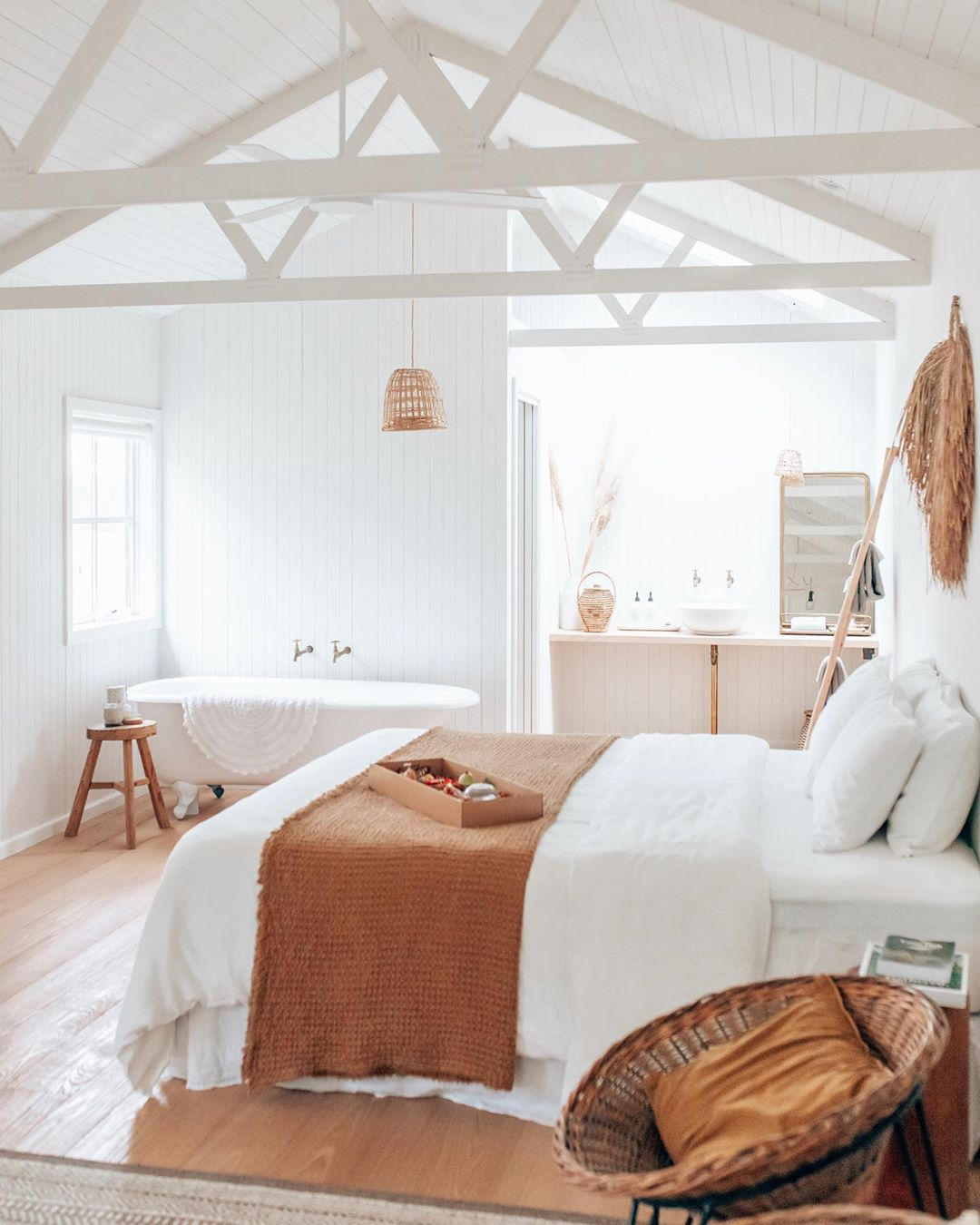 Bright and airy farmhouse bedroom