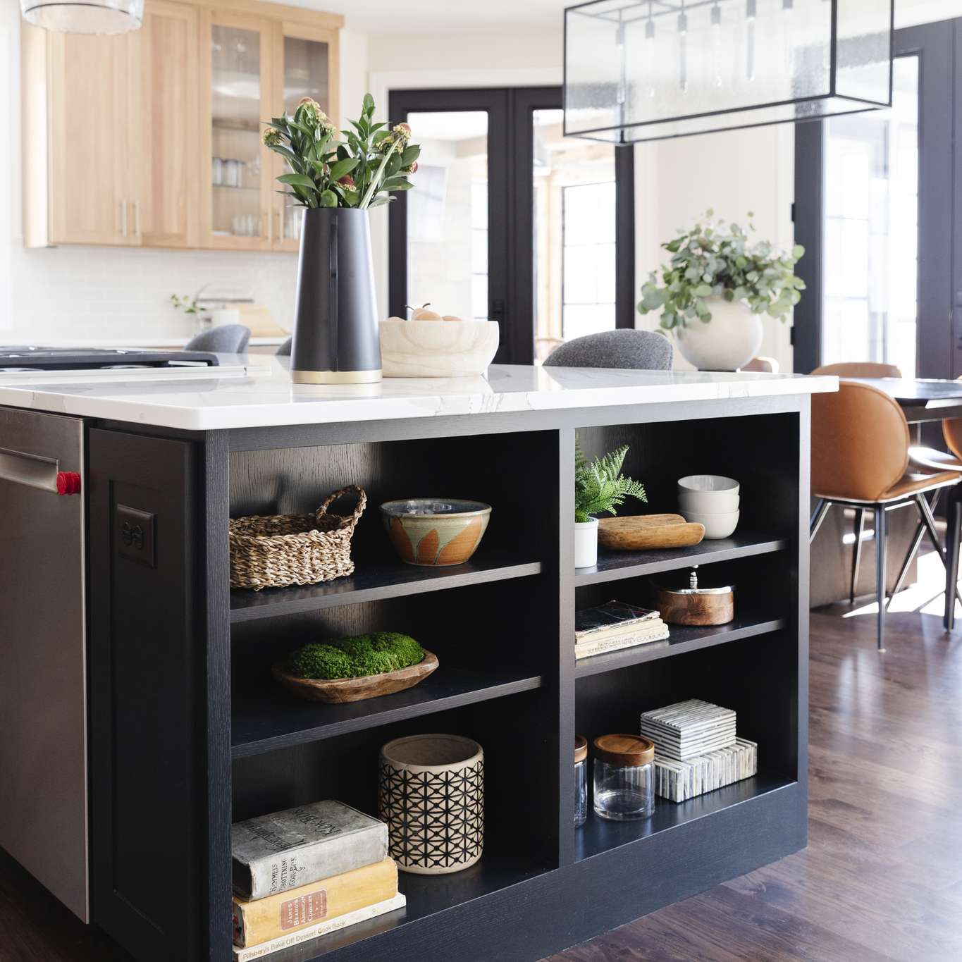 Kitchen island with recessed bookcase