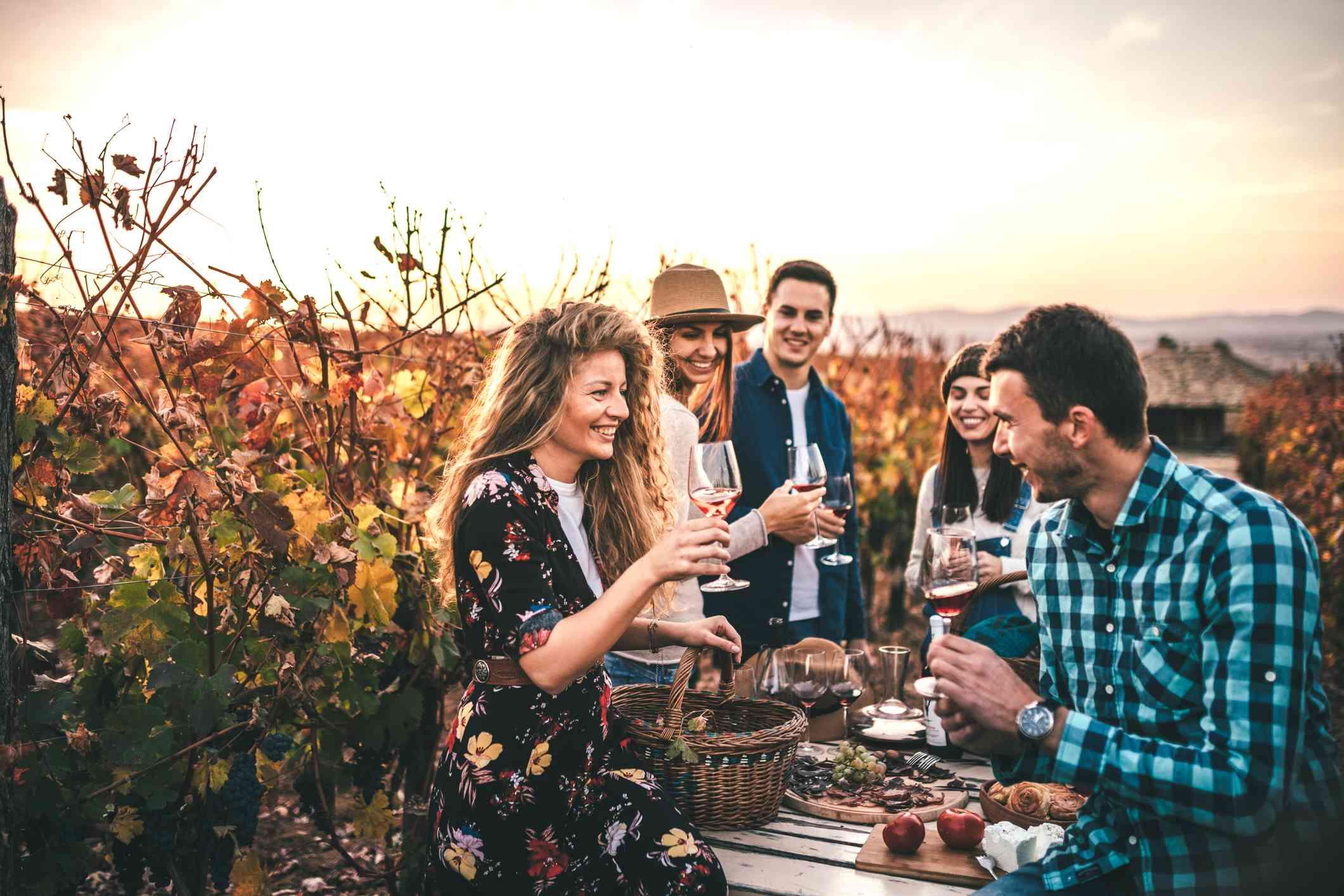 friends wine tasting