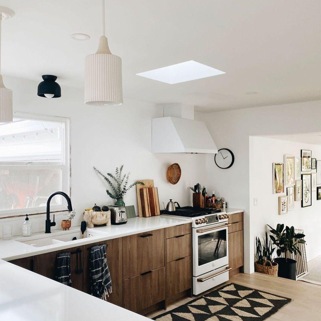 Black, brown, and white kitchen