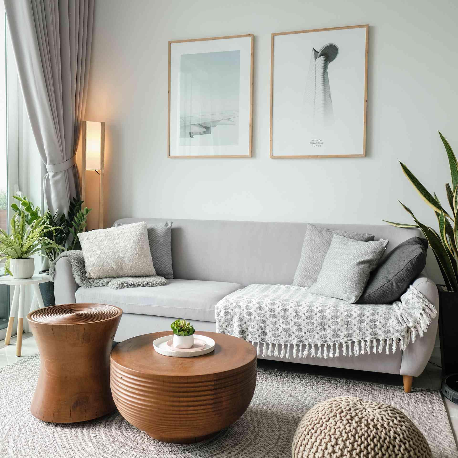 minimalist living room with wood tables