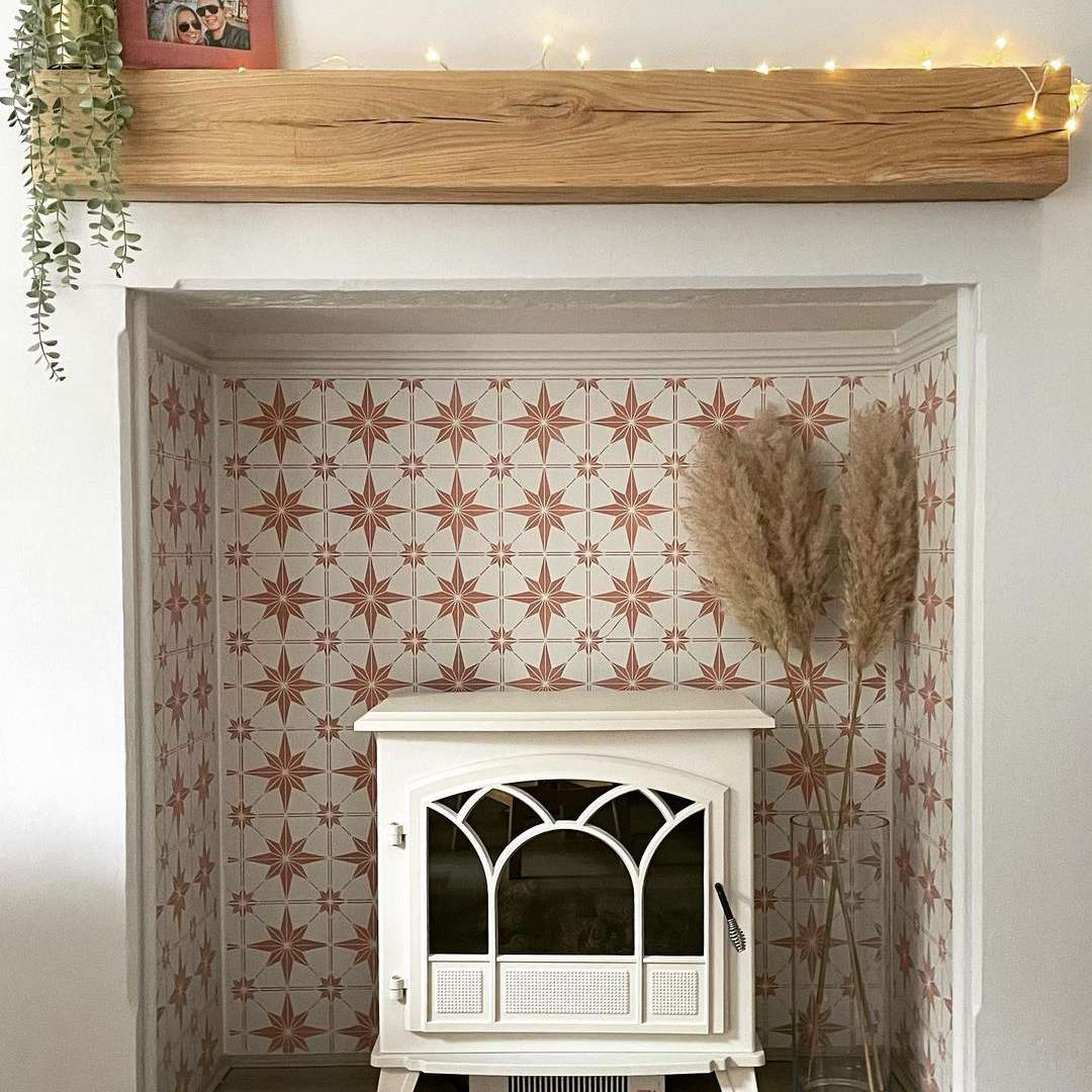 Fireplace with pink tile
