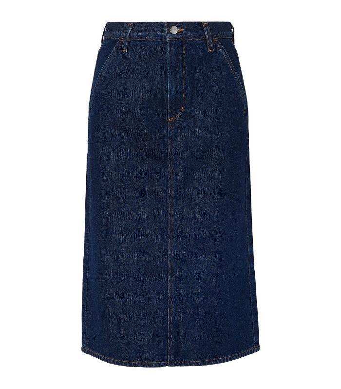 The Flat Front Denim Pencil Skirt