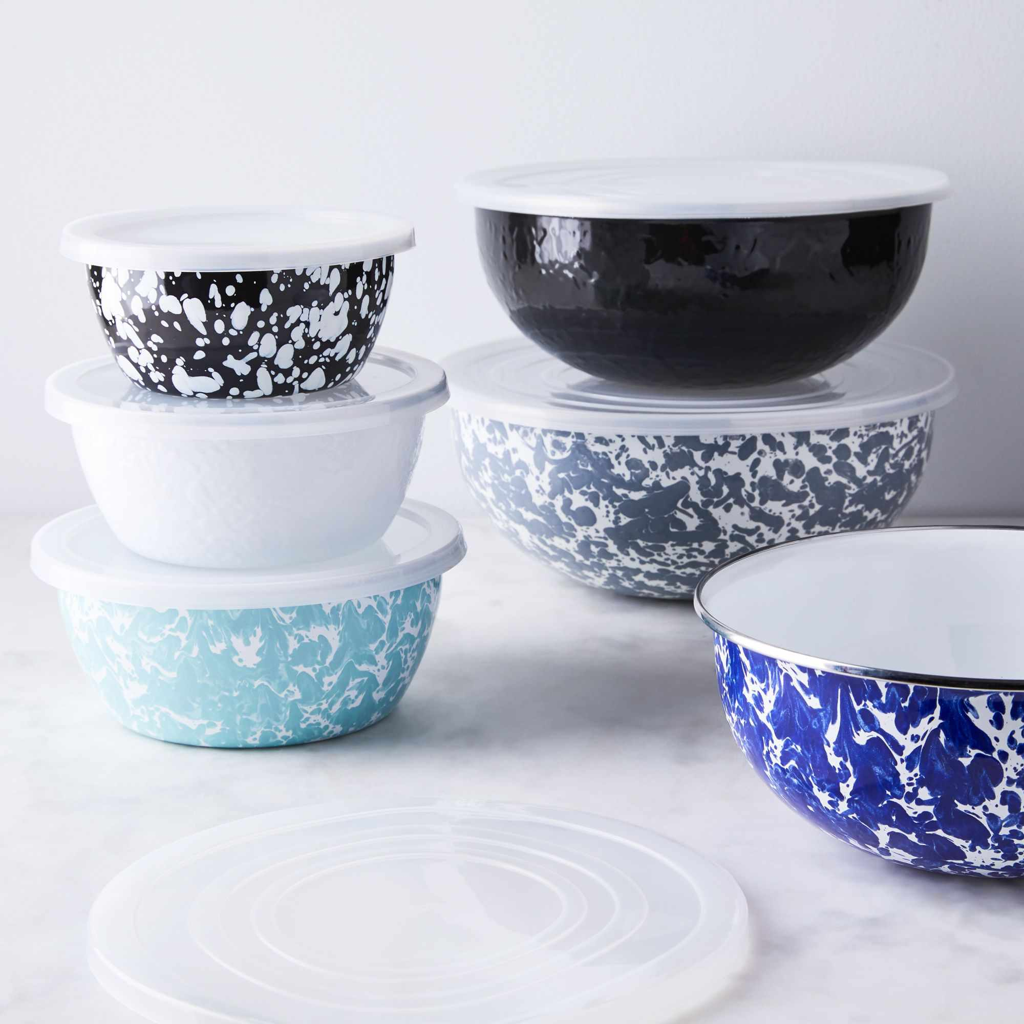 Golden Rabbit Enamel Nested Prep & Mixing Bowls With Lids