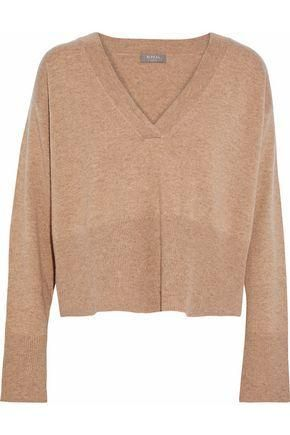 Cropped Mélange Cashmere Sweater