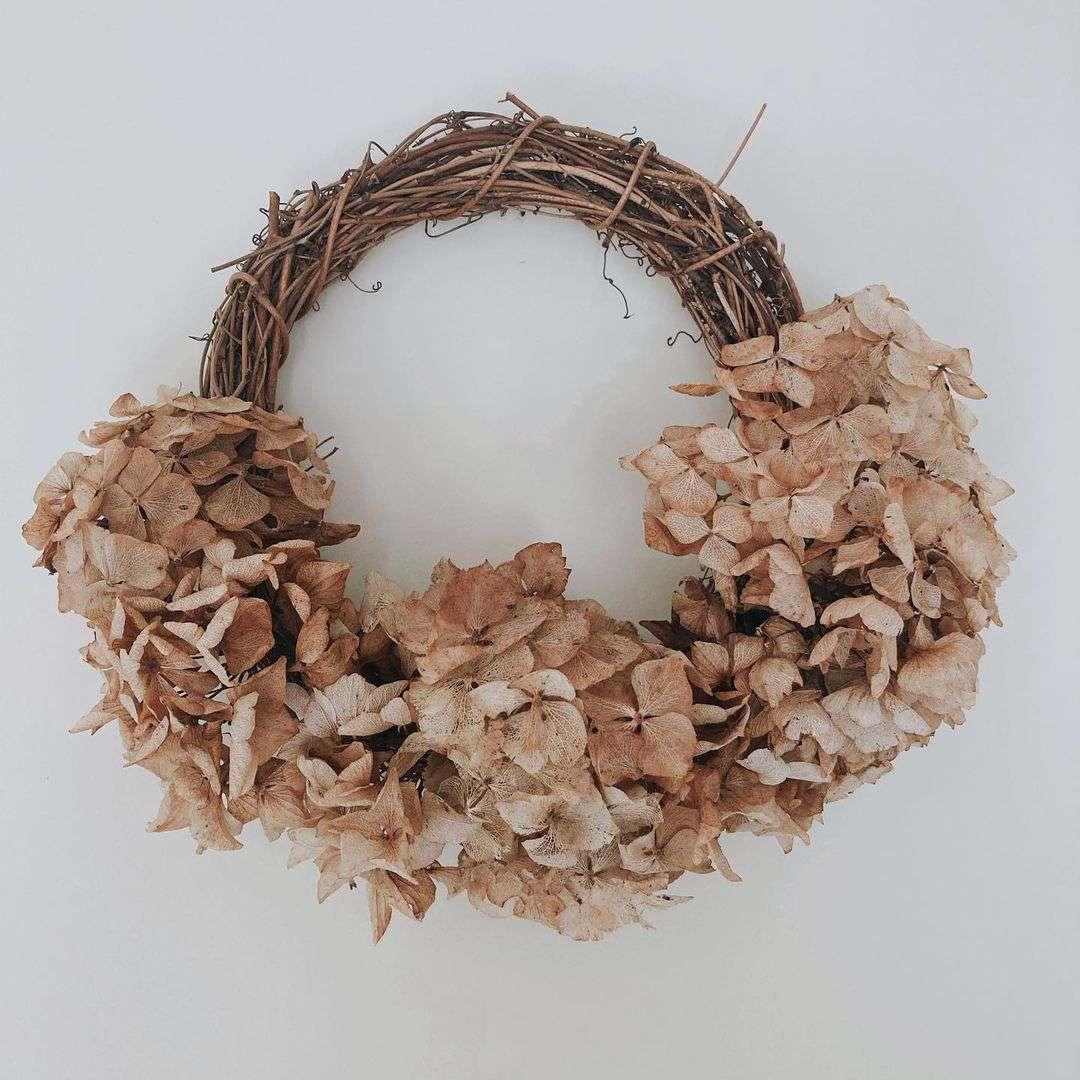Everything Ellis dried hydrangea wreath.