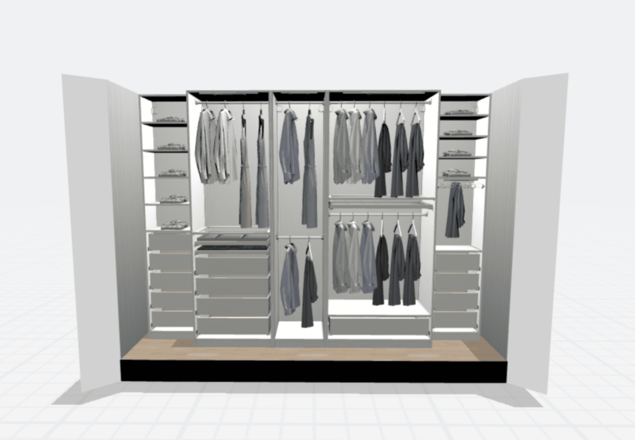 A closet planned out in IKEA's digital planning tool