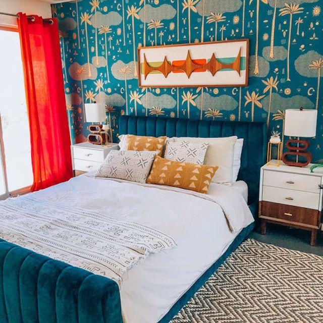 Bright blue bedroom