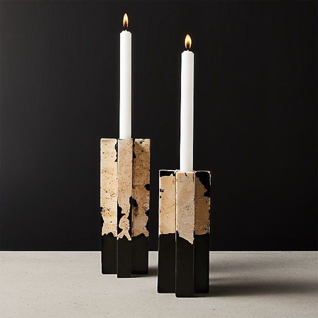 CB2 Syrena Stone and Resin Candle Holder