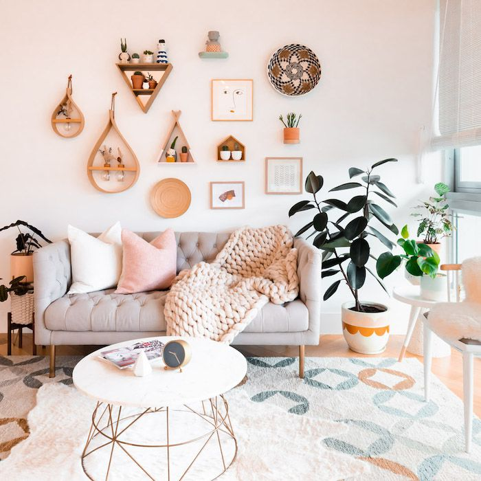 modern colorful living room with object gallery wall, plants, etc.
