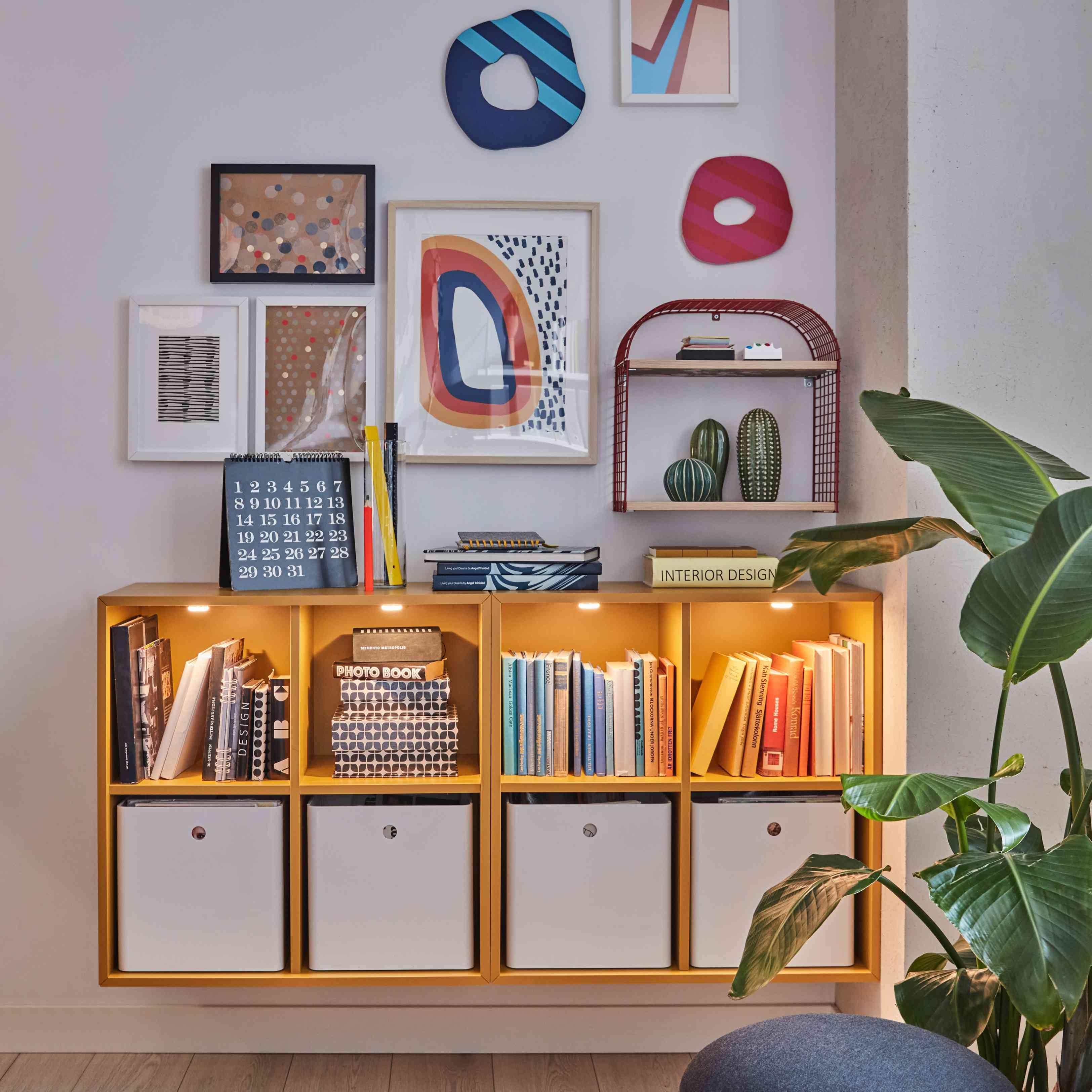 IKEA bookshelf with plants.